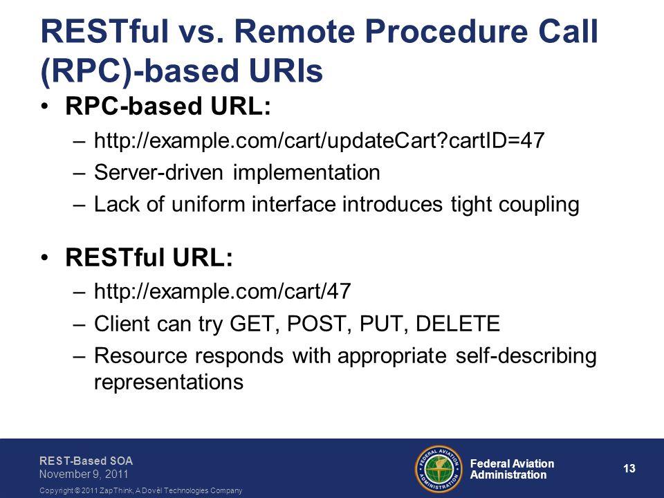 13 Federal Aviation Administration REST-Based SOA November 9, 2011 Copyright © 2011 ZapThink, A Dovèl Technologies Company RESTful vs. Remote Procedur