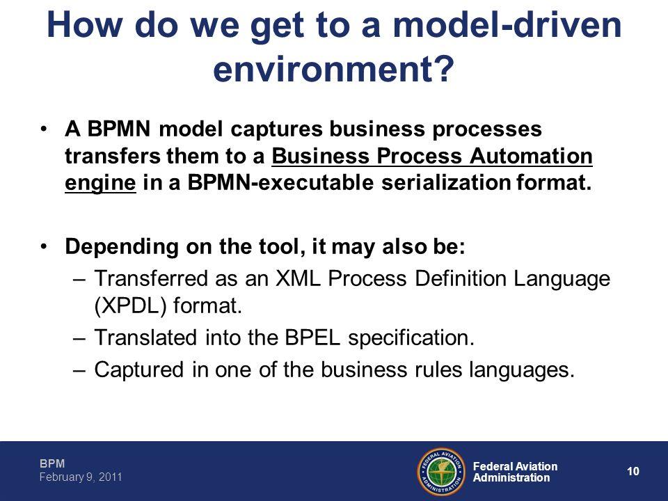 10 Federal Aviation Administration BPM February 9, 2011 How do we get to a model-driven environment? A BPMN model captures business processes transfer