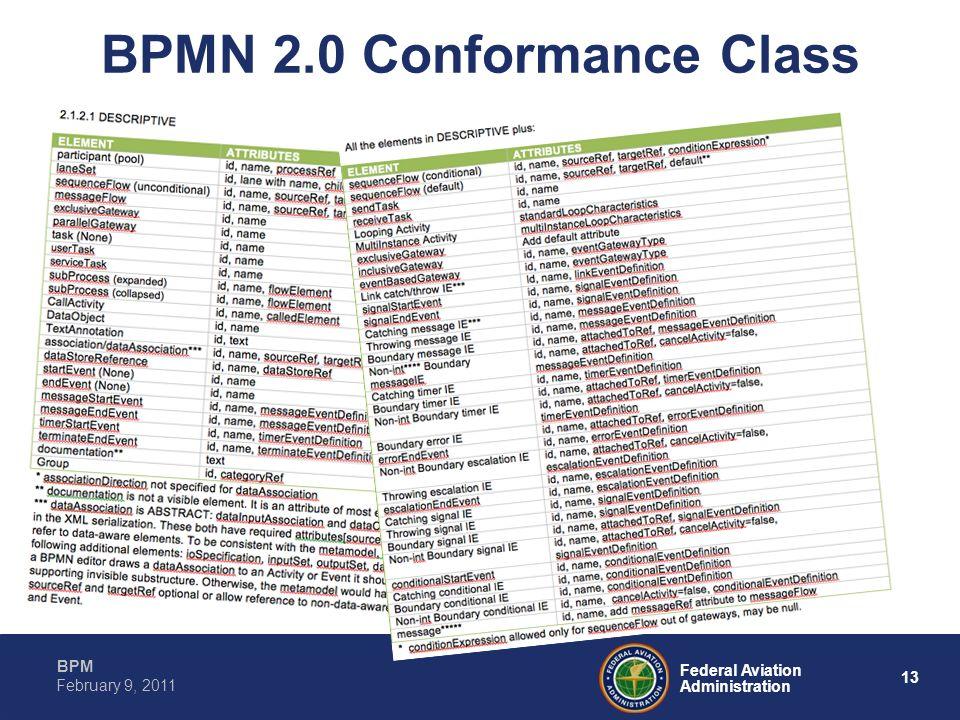 13 Federal Aviation Administration BPM February 9, 2011 BPMN 2.0 Conformance Class