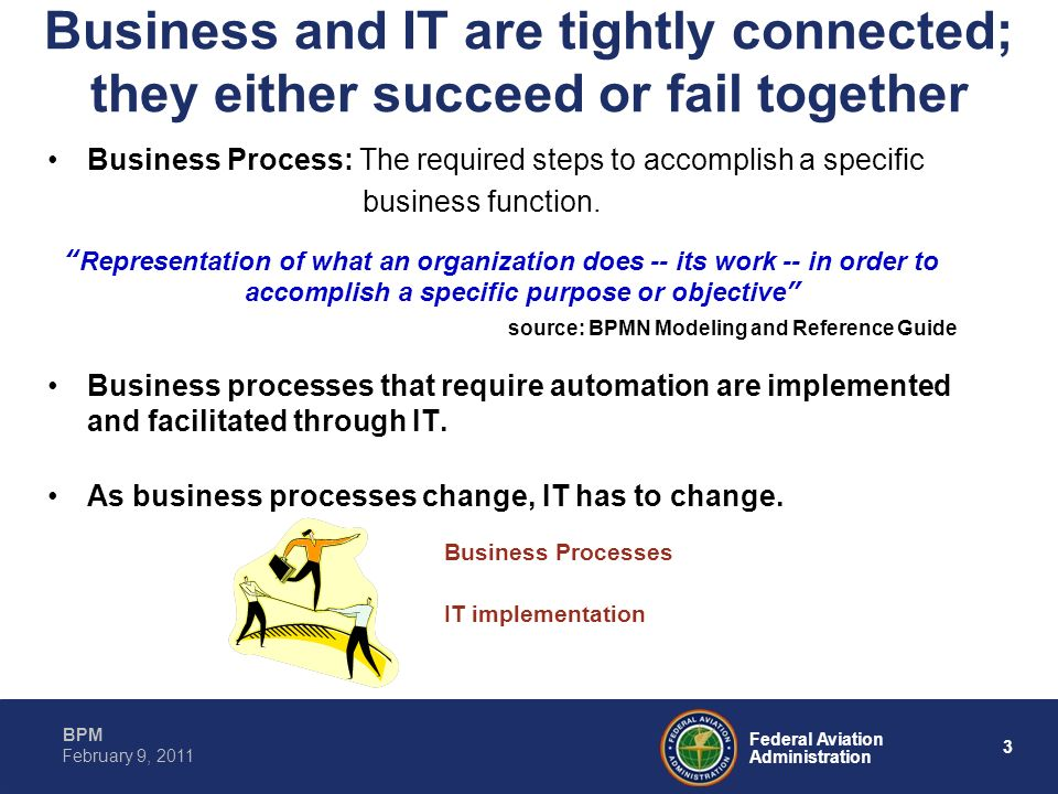 3 Federal Aviation Administration BPM February 9, 2011 Business and IT are tightly connected; they either succeed or fail together Business Process: T