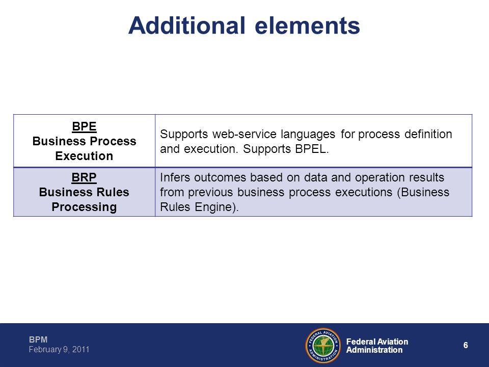 6 Federal Aviation Administration BPM February 9, 2011 Additional elements BPE Business Process Execution Supports web-service languages for process d