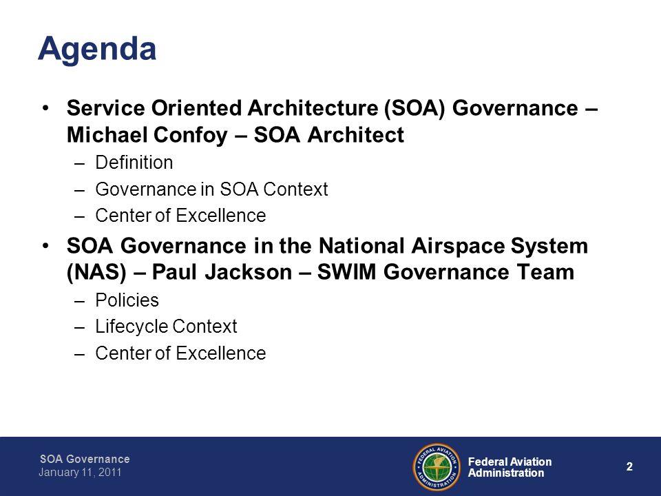 13 Federal Aviation Administration SOA Governance January 11, 2011 SOA Governance in the NAS