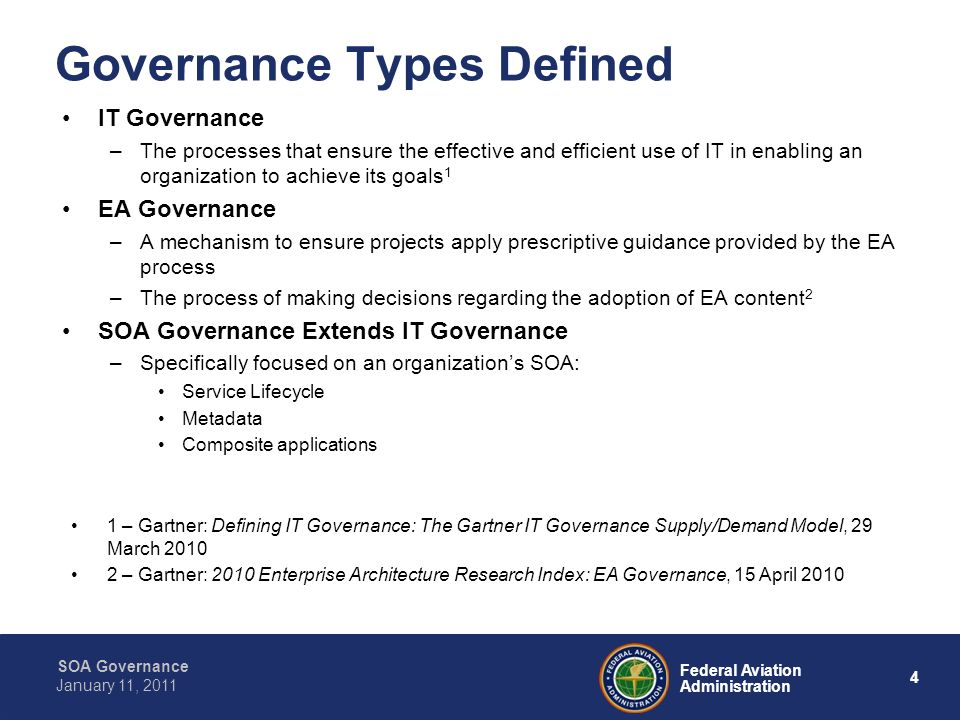 5 Federal Aviation Administration SOA Governance January 11, 2011 SOA Governance Addresses concerns such as: –Service registration –Service versioning –Service ownership –Service funding –Service modeling –Service discovery and access –Deployment of services and composite applications –Security for services –Processes and procedures to support service publishing and service validation –Documenting the approach to support service lifecycle management and service reuse –Verify that running services are the approved versions –Define mechanism to manage SLAs for services –Provide a mechanism to enable runtime service look-up