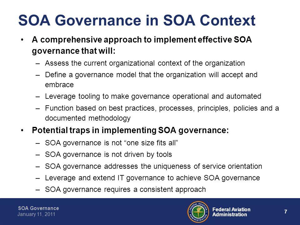 18 Federal Aviation Administration SOA Governance January 11, 2011 SWIM Compliance SWIM Compliance Definition: –verified conformance to SWIM Policies.
