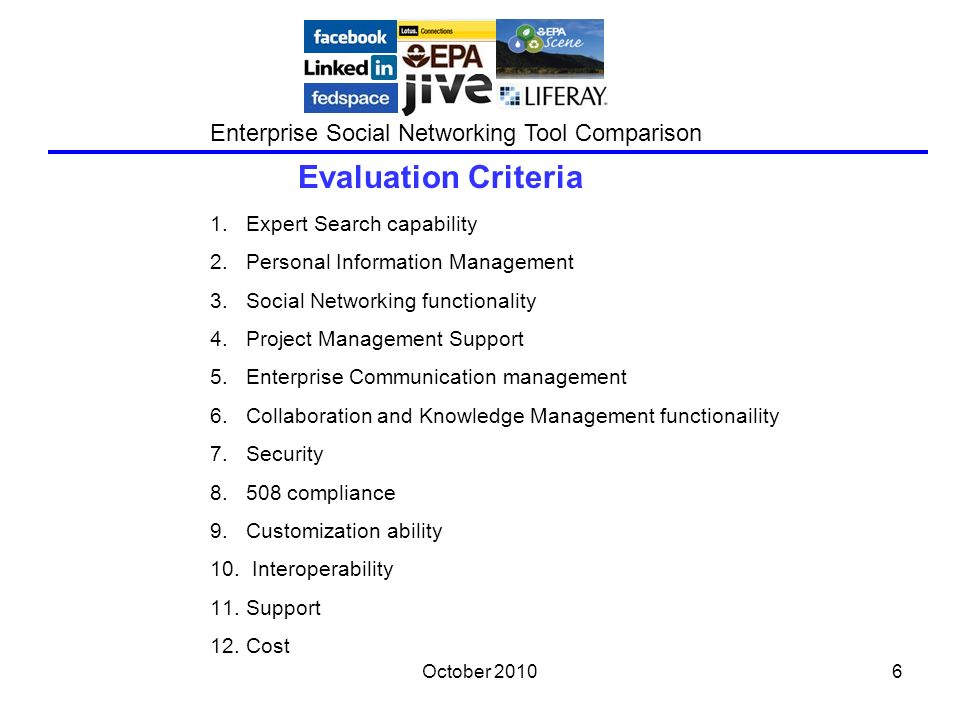 October 20106 Evaluation Criteria Enterprise Social Networking Tool Comparison 1.Expert Search capability 2.Personal Information Management 3.Social Networking functionality 4.Project Management Support 5.Enterprise Communication management 6.Collaboration and Knowledge Management functionaility 7.Security 8.508 compliance 9.Customization ability 10.