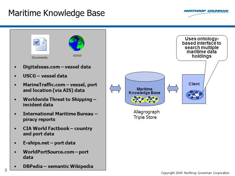 14 Maritime Knowledge Base Copyright 2009 Northrop Grumman Corporation