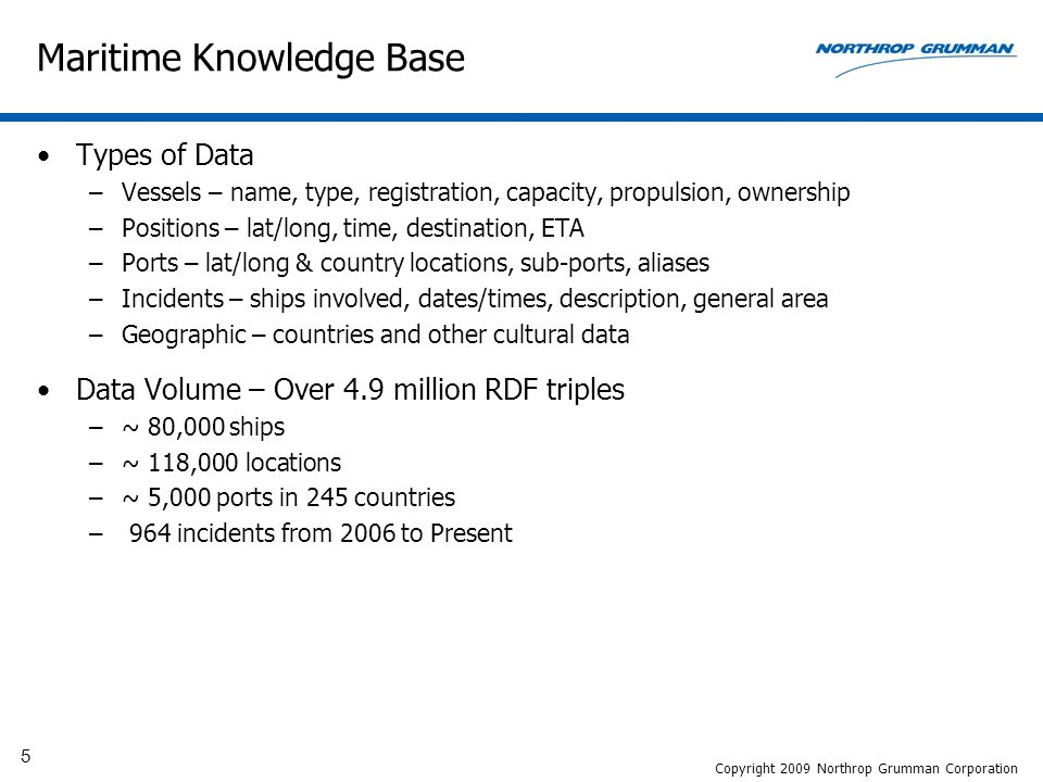 5 Maritime Knowledge Base Types of Data –Vessels – name, type, registration, capacity, propulsion, ownership –Positions – lat/long, time, destination, ETA –Ports – lat/long & country locations, sub-ports, aliases –Incidents – ships involved, dates/times, description, general area –Geographic – countries and other cultural data Data Volume – Over 4.9 million RDF triples –~ 80,000 ships –~ 118,000 locations –~ 5,000 ports in 245 countries – 964 incidents from 2006 to Present Copyright 2009 Northrop Grumman Corporation