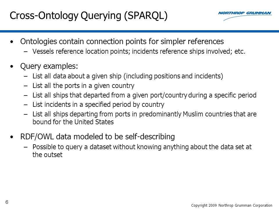 6 Cross-Ontology Querying (SPARQL) Ontologies contain connection points for simpler references –Vessels reference location points; incidents reference ships involved; etc.