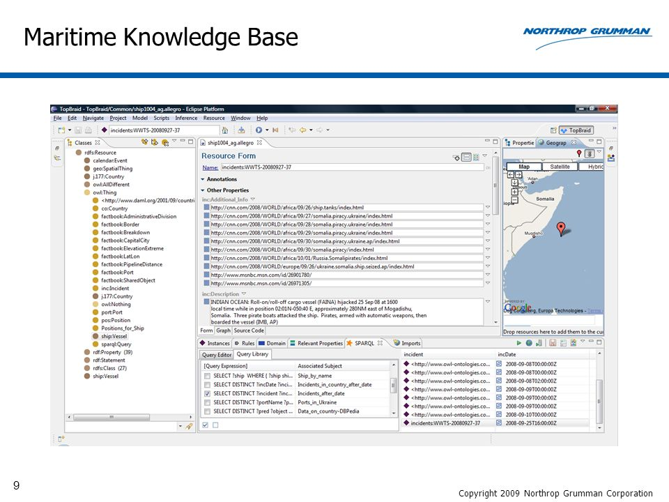 9 Maritime Knowledge Base Copyright 2009 Northrop Grumman Corporation