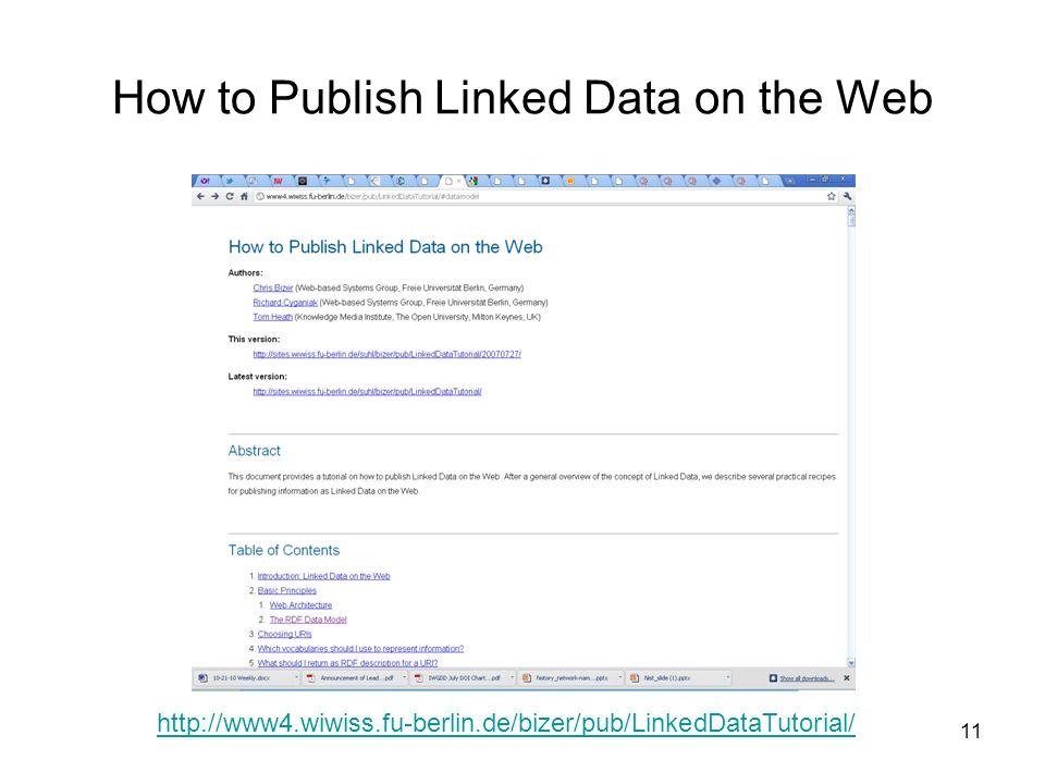 11 How to Publish Linked Data on the Web http://www4.wiwiss.fu-berlin.de/bizer/pub/LinkedDataTutorial/