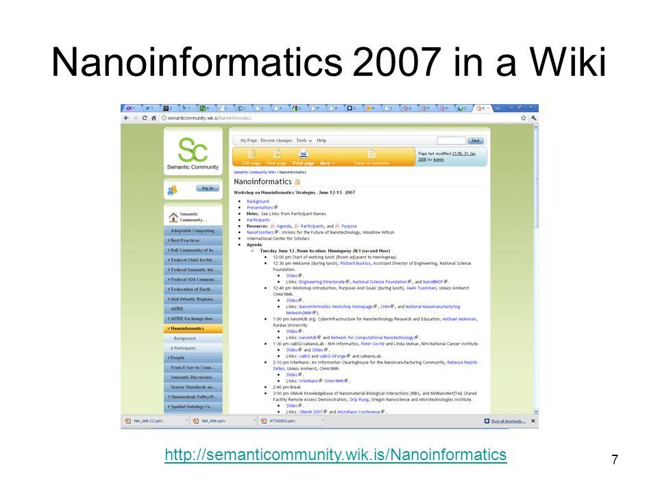 7 Nanoinformatics 2007 in a Wiki http://semanticommunity.wik.is/Nanoinformatics