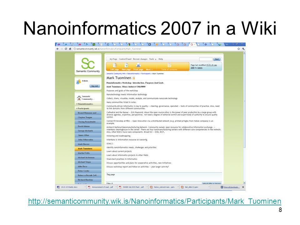 8 Nanoinformatics 2007 in a Wiki http://semanticommunity.wik.is/Nanoinformatics/Participants/Mark_Tuominen