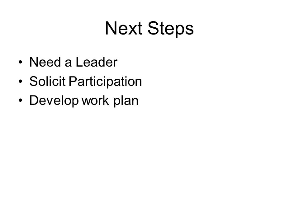 Next Steps Need a Leader Solicit Participation Develop work plan