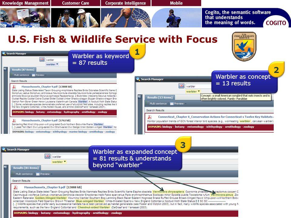 U.S. Fish & Wildlife Service with Focus Warbler as keyword = 87 results Warbler as concept = 13 results Warbler as expanded concept = 81 results & und