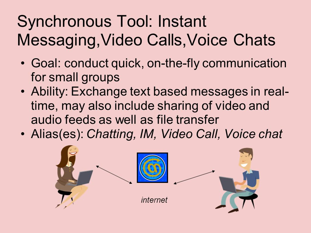 Synchronous Tool: Instant Messaging,Video Calls,Voice Chats Goal: conduct quick, on-the-fly communication for small groups Ability: Exchange text based messages in real- time, may also include sharing of video and audio feeds as well as file transfer Alias(es): Chatting, IM, Video Call, Voice chat internet