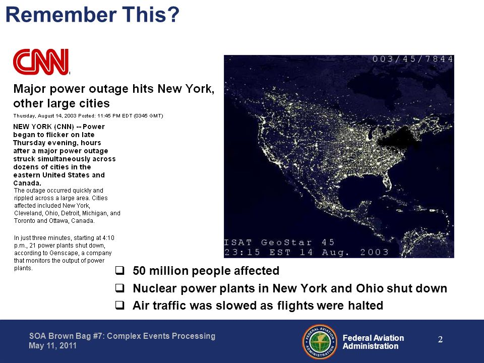 Federal Aviation Administration SOA Brown Bag #7: Complex Events Processing May 11, 2011 50 million people affected Nuclear power plants in New York a