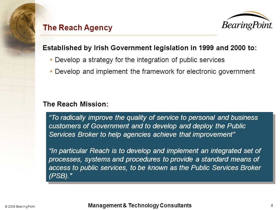 Management & Technology Consultants Service-Oriented Architectures for E-Government Reach and its Mission