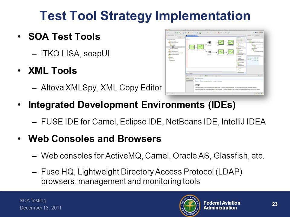 23 Federal Aviation Administration SOA Testing December 13, 2011 Test Tool Strategy Implementation SOA Test Tools –iTKO LISA, soapUI XML Tools –Altova
