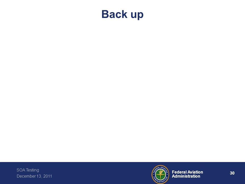 30 Federal Aviation Administration SOA Testing December 13, 2011 Back up