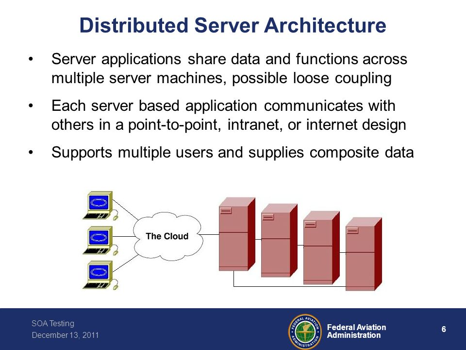 6 Federal Aviation Administration SOA Testing December 13, 2011 Distributed Server Architecture Server applications share data and functions across mu