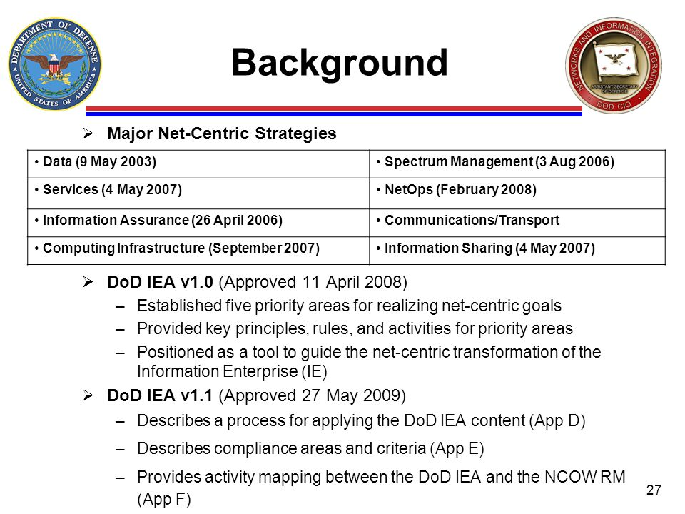 Background Major Net-Centric Strategies DoD IEA v1.0 (Approved 11 April 2008) –Established five priority areas for realizing net-centric goals –Provid