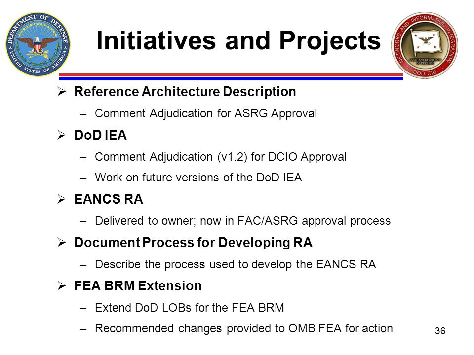 Initiatives and Projects Reference Architecture Description –Comment Adjudication for ASRG Approval DoD IEA –Comment Adjudication (v1.2) for DCIO Appr