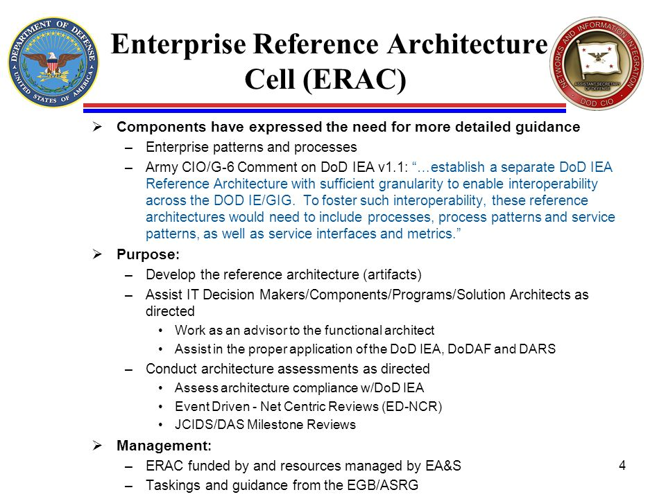 Enterprise Reference Architecture Cell (ERAC) Components have expressed the need for more detailed guidance –Enterprise patterns and processes –Army C