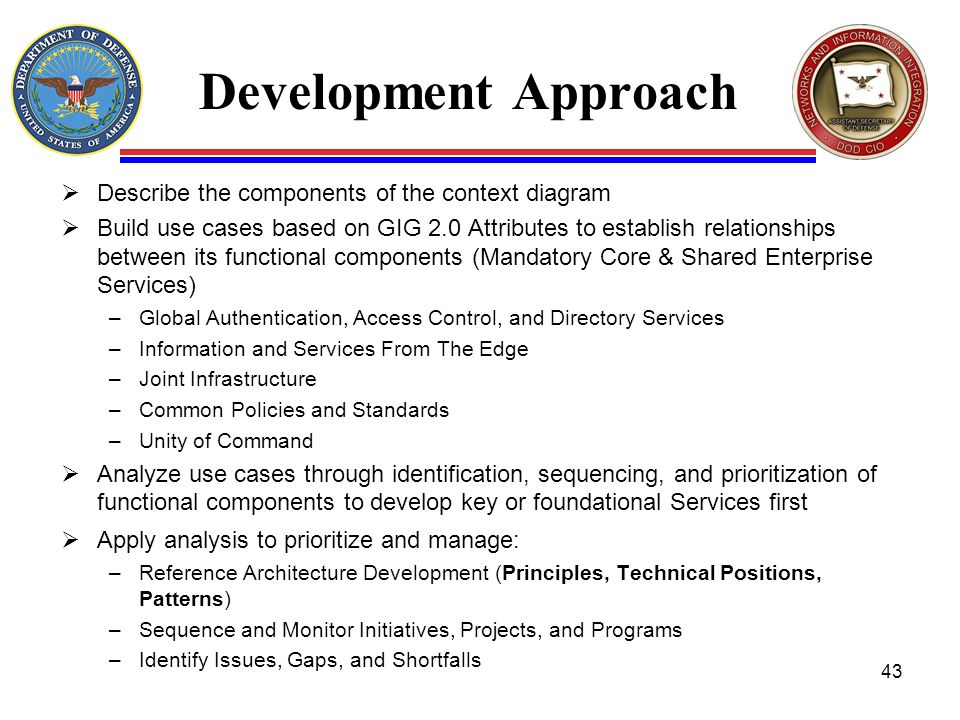 Development Approach Describe the components of the context diagram Build use cases based on GIG 2.0 Attributes to establish relationships between its