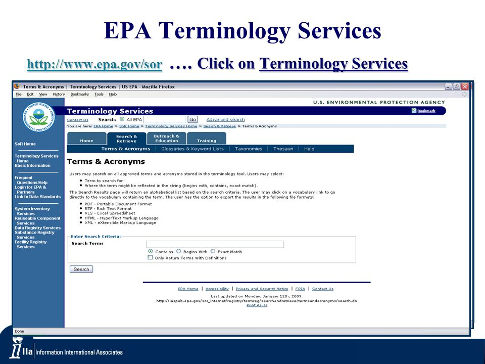 EPA Terminology Services   ….