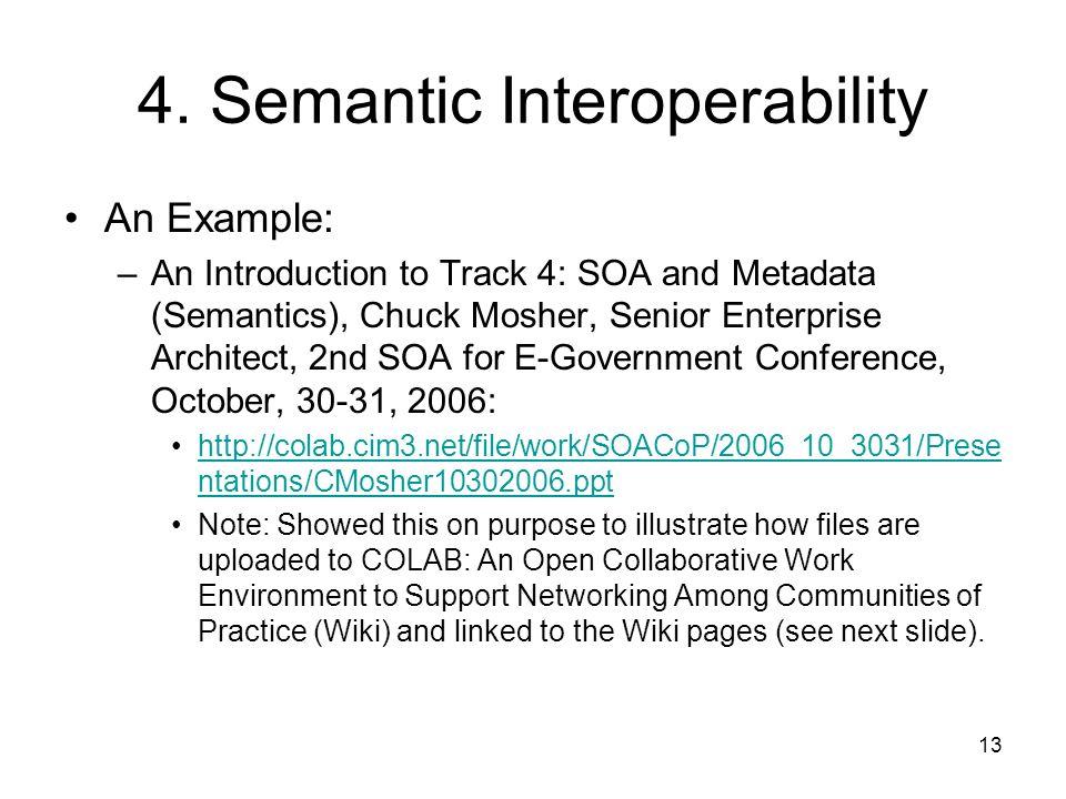 13 4. Semantic Interoperability An Example: –An Introduction to Track 4: SOA and Metadata (Semantics), Chuck Mosher, Senior Enterprise Architect, 2nd