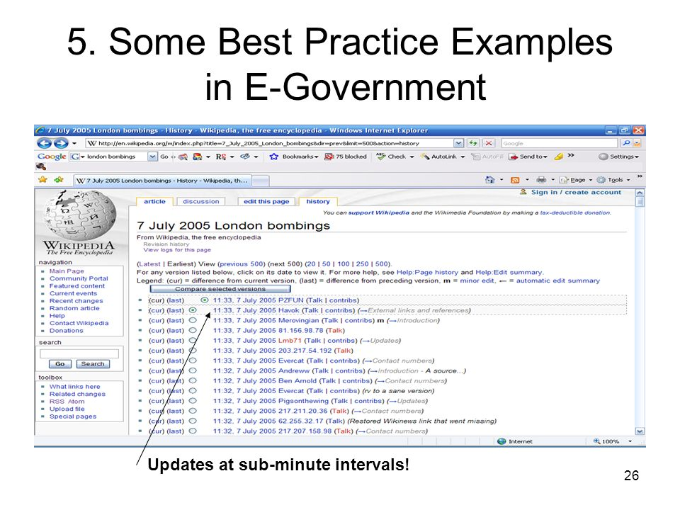 26 5. Some Best Practice Examples in E-Government Updates at sub-minute intervals!