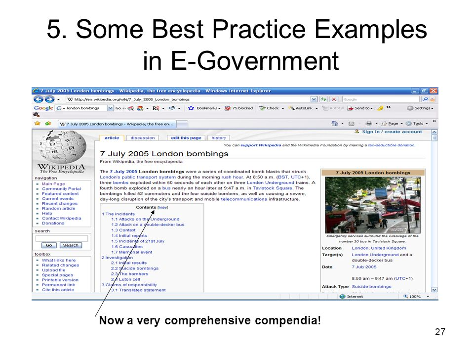 27 5. Some Best Practice Examples in E-Government Now a very comprehensive compendia!