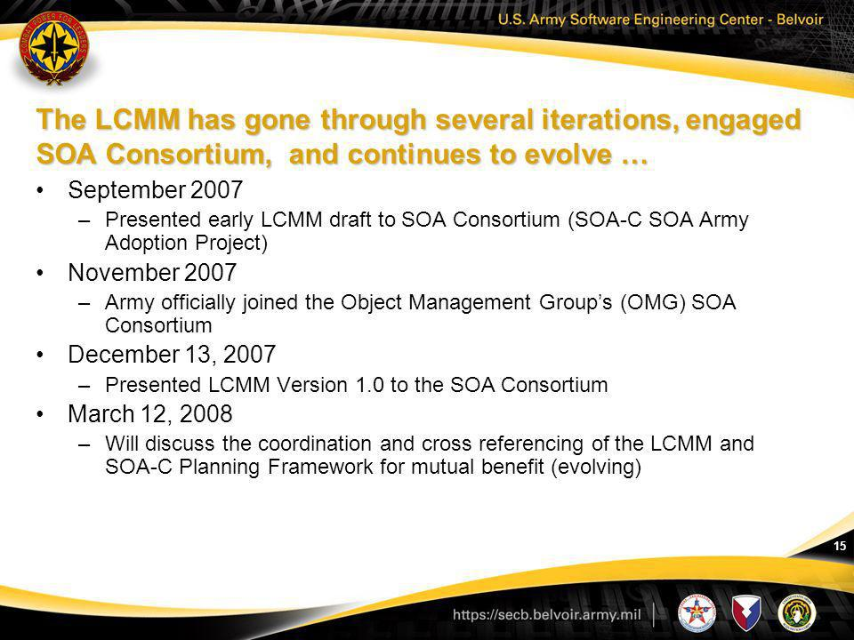 15 The LCMM has gone through several iterations, engaged SOA Consortium, and continues to evolve … September 2007 –Presented early LCMM draft to SOA C