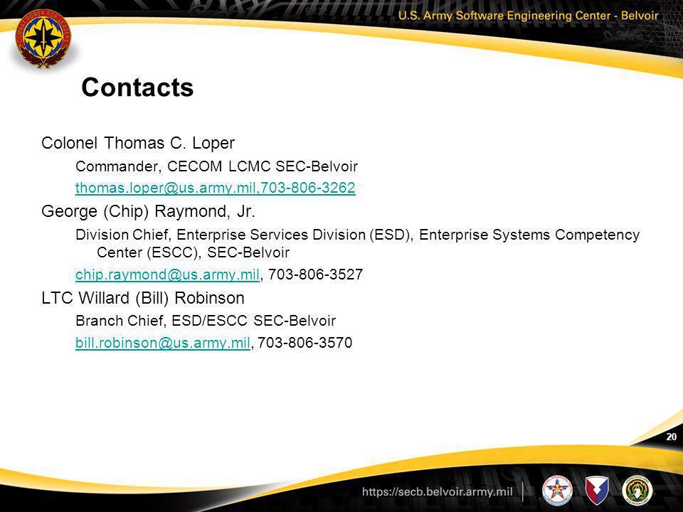 20 Contacts Colonel Thomas C. Loper Commander, CECOM LCMC SEC-Belvoir thomas.loper@us.army.mil,703-806-3262 George (Chip) Raymond, Jr. Division Chief,