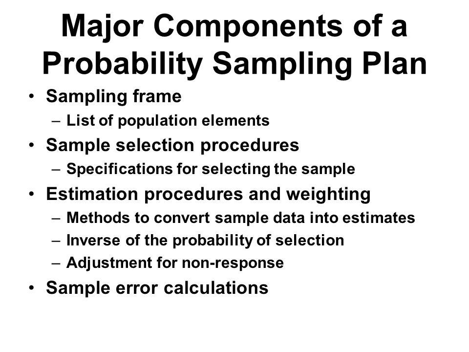 Major Components of a Probability Sampling Plan Sampling frame –List of population elements Sample selection procedures –Specifications for selecting