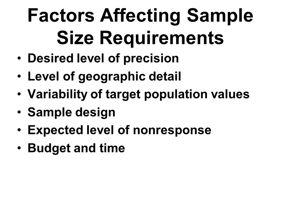 Factors Affecting Sample Size Requirements Desired level of precision Level of geographic detail Variability of target population values Sample design