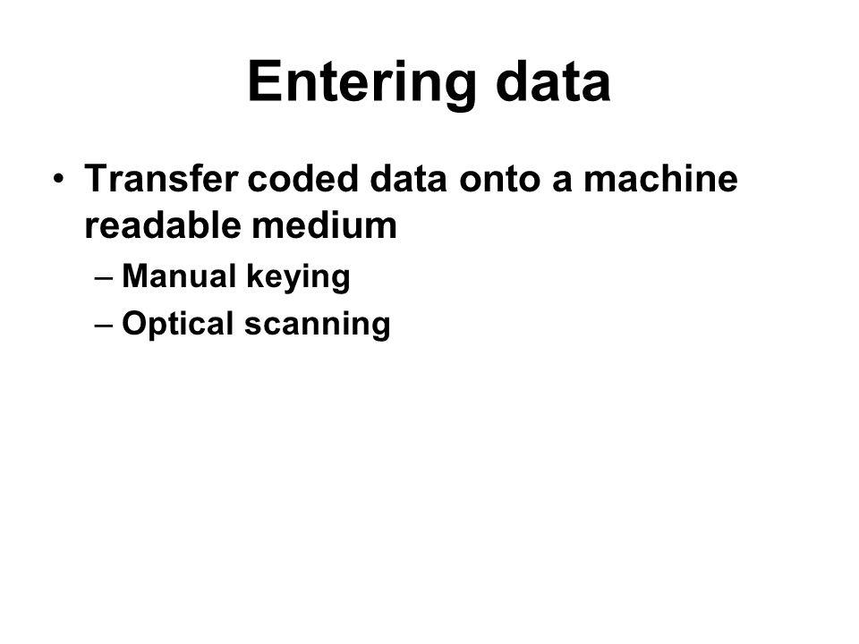 Entering data Transfer coded data onto a machine readable medium –Manual keying –Optical scanning