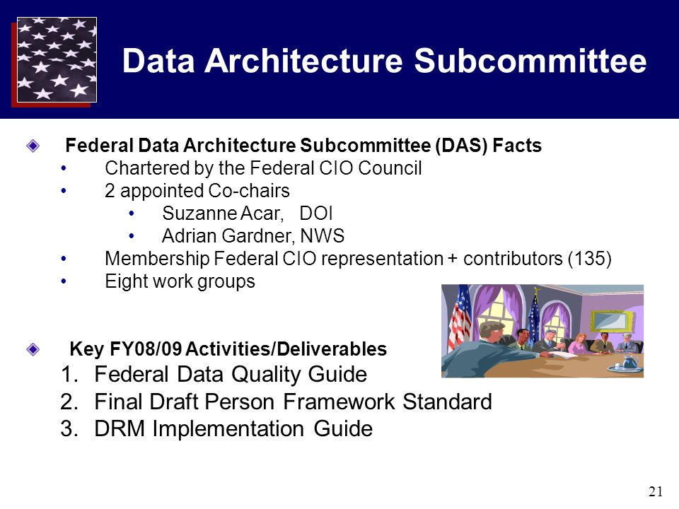 21 Data Architecture Subcommittee Federal Data Architecture Subcommittee (DAS) Facts Chartered by the Federal CIO Council 2 appointed Co-chairs Suzanne Acar, DOI Adrian Gardner, NWS Membership Federal CIO representation + contributors (135) Eight work groups Key FY08/09 Activities/Deliverables 1.Federal Data Quality Guide 2.Final Draft Person Framework Standard 3.DRM Implementation Guide