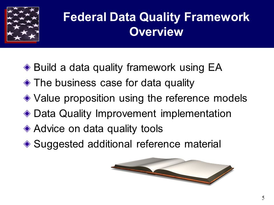 5 Federal Data Quality Framework Overview Build a data quality framework using EA The business case for data quality Value proposition using the refer