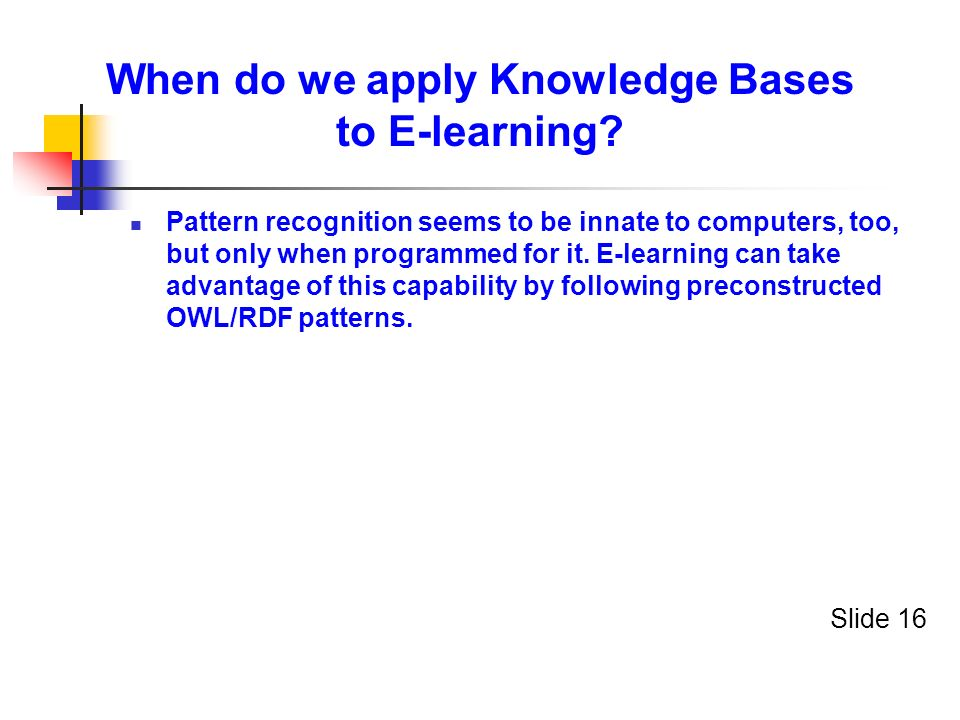 When do we apply Knowledge Bases to E-learning.
