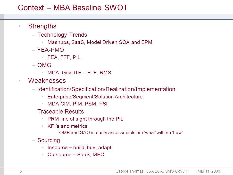George Thomas, GSA ECA, OMG GovDTFMar 11, 20085 Context – MBA Baseline SWOT Strengths –Technology Trends Mashups, SaaS, Model Driven SOA and BPM –FEA-
