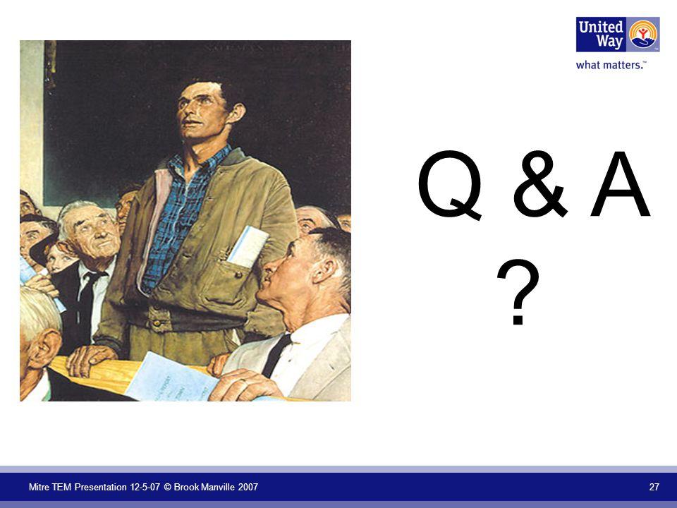 Mitre TEM Presentation 12-5-07 © Brook Manville 2007 27 Q & A