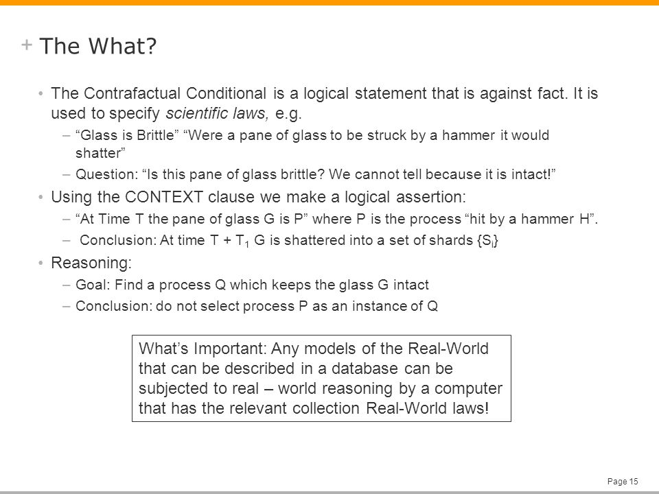 + Page 15 The What. The Contrafactual Conditional is a logical statement that is against fact.