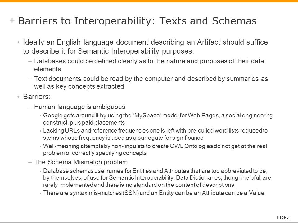 + Page 8 Barriers to Interoperability: Texts and Schemas Ideally an English language document describing an Artifact should suffice to describe it for Semantic Interoperability purposes.