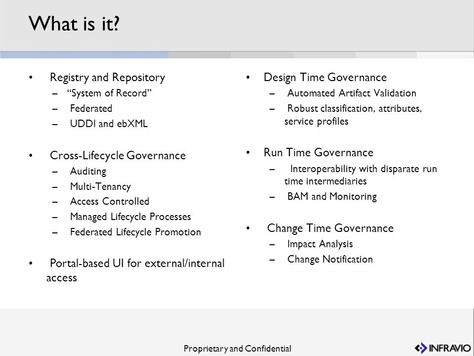 Proprietary and Confidential What is it? Registry and Repository –System of Record – Federated – UDDI and ebXML Cross-Lifecycle Governance – Auditing
