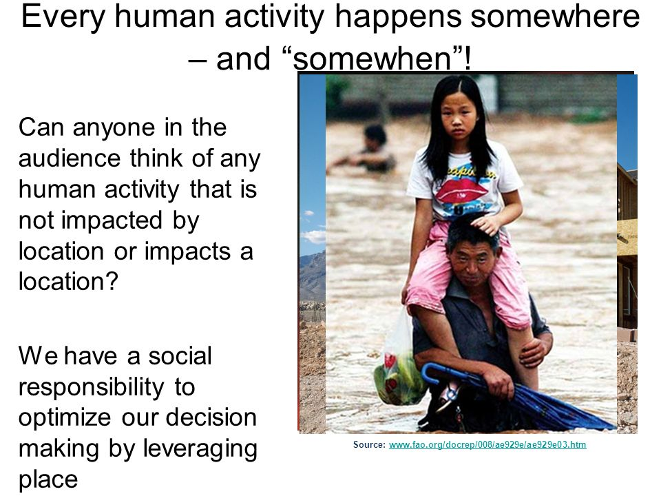 Every human activity happens somewhere – and somewhen! Can anyone in the audience think of any human activity that is not impacted by location or impa