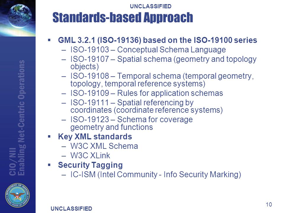 UNCLASSIFIED 10 Standards-based Approach GML 3.2.1 (ISO-19136) based on the ISO-19100 series –ISO-19103 – Conceptual Schema Language –ISO-19107 – Spatial schema (geometry and topology objects) –ISO-19108 – Temporal schema (temporal geometry, topology, temporal reference systems) –ISO-19109 – Rules for application schemas –ISO-19111 – Spatial referencing by coordinates (coordinate reference systems) –ISO-19123 – Schema for coverage geometry and functions Key XML standards –W3C XML Schema –W3C XLink Security Tagging –IC-ISM (Intel Community - Info Security Marking)