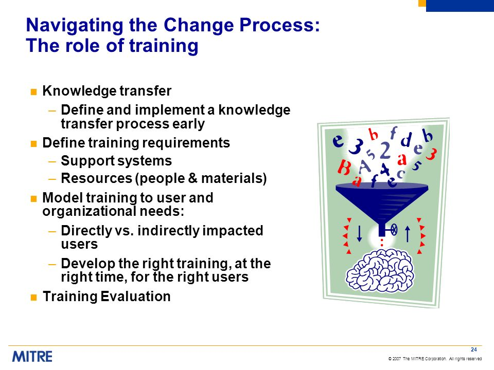 © 2007 The MITRE Corporation. All rights reserved 24 Navigating the Change Process: The role of training n Knowledge transfer –Define and implement a