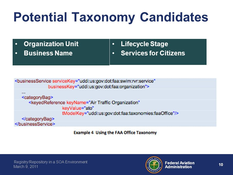 10 Federal Aviation Administration Registry/Repository in a SOA Environment March 9, 2011 Potential Taxonomy Candidates Organization Unit Business Nam