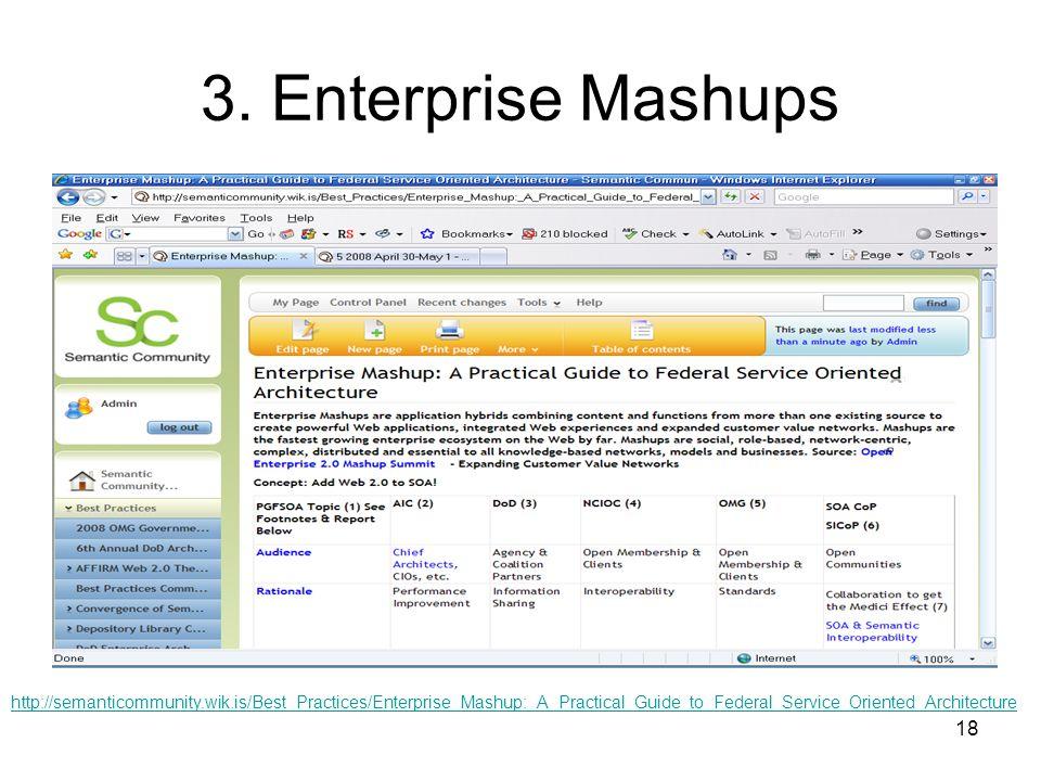 18 3. Enterprise Mashups http://semanticommunity.wik.is/Best_Practices/Enterprise_Mashup:_A_Practical_Guide_to_Federal_Service_Oriented_Architecture